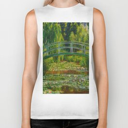 Claude Monet Impressionist Landscape Oil Painting-The Japanese Footbridge and the Water Lily Pool Biker Tank