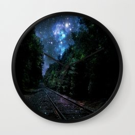 Train Tracks : Next Stop Anywhere Blue Side View Wall Clock