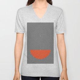 Monochrome Geometric Pattern Clash Abstract Orange Semi Circle Unisex V-Neck