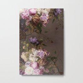 Halftone Classic Floral Taupe Metal Print