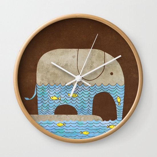 Thirsty Elephant - colour option Wall Clock