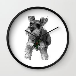 Christmas Schnauzer Wall Clock
