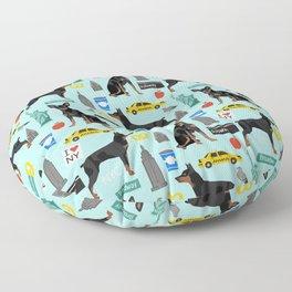 Miniature Doberman Pinscher min pin new york city tourist landmarks cute dog breed gifts Floor Pillow
