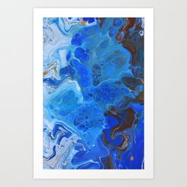 Storm Surge Blue and Brown Fluid Acrylic Abstract Painting Art Print