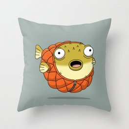 Puffer fish Throw Pillow