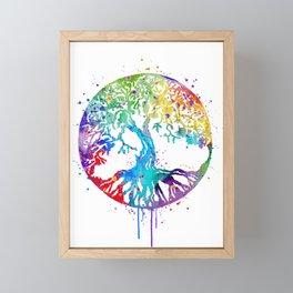 Tree of Life Art Colorful Watercolor Gift Nature Art Zen Decor Framed Mini Art Print