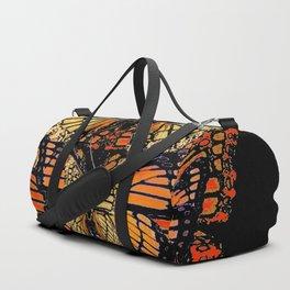 CREAM & RUST COLOR MONARCH BUTTERFLIES BLACK PATTERN ART Duffle Bag