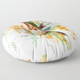 Hummingbird and orange flowers Floor Pillow