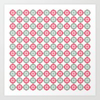 morrocan Art Prints featuring Colorful Morrocan Quatrefoil Pattern by Bimbys