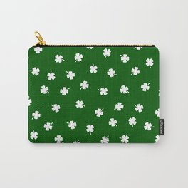 White Shamrocks Green Background Carry-All Pouch
