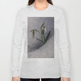 Snowdrop flowers in the snow Long Sleeve T-shirt