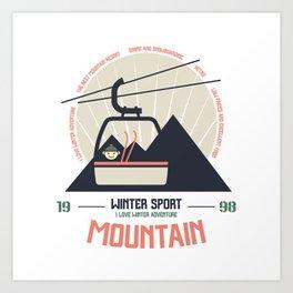 Mountain winter sport emblem Art Print