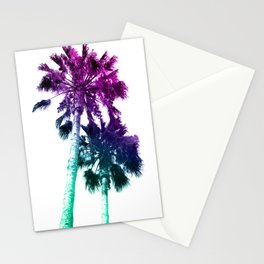 Retro Vintage Ombre Pop Art Los Angeles, Southern California Palm Tree Colored Print Stationery Cards