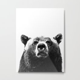 Black and white bear portrait Metal Print