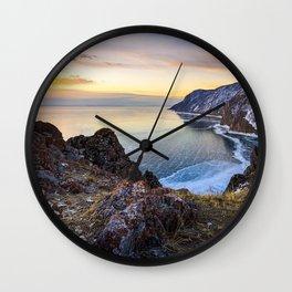 lake baikal ice spring sunset russia beautiful nature Wall Clock