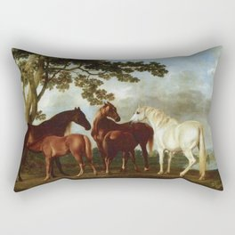 Classical Masterpiece Circa 1762 Mares and Foals in a River Landscape by George Stubbs Rectangular Pillow