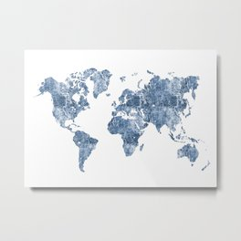 Azurro Blue Marble World Map Metal Print