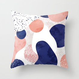 Terrazzo galaxy pink blue white Throw Pillow