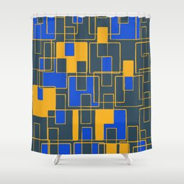 Abstract Tiles Yellow and Blue Shower Curtain