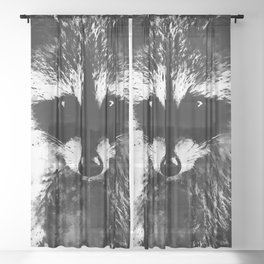 raccoon watercolor splatters black white Sheer Curtain