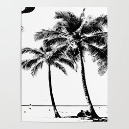 Black and White Palm Tree with Hawaii Summer Sea Beach Poster