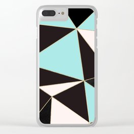 Elegant pink teal black abstract geometrical Clear iPhone Case