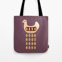 chicken Tote Bags featuring Chicken by Mira Maijala