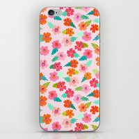 hibiscus iPhone & iPod Skins featuring Hibiscus by Abby Galloway