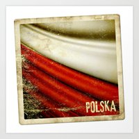 poland Art Prints featuring STICKER OF POLAND flag by Lulla