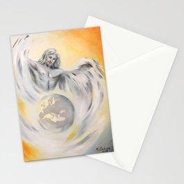 Guardian Angel World Peace - Handpainted Angel Art Stationery Cards