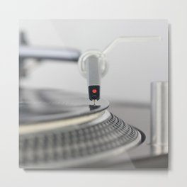 Closeup of the legendary technics sl 1200 mk2 turntable Metal Print