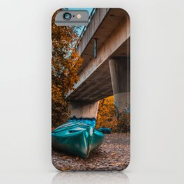 Kayaks Under the Bridge. Photograph iPhone Case