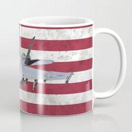 F18 Fighter Jet American Flag Coffee Mug