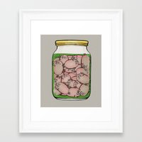 pigs Framed Art Prints featuring Pickled Pigs by Megs stuff...