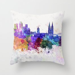 Cologne skyline in watercolor background Throw Pillow