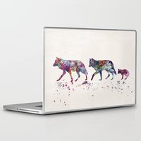 wolves Laptop & iPad Skins featuring Wolves by Watercolorist