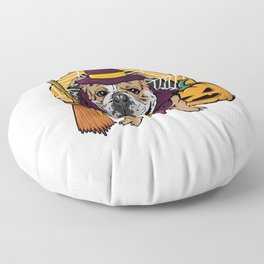 Witch Bulldog Dog Costume For Spooky Halloween Floor Pillow