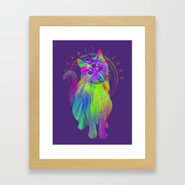 Psychedelic Psychic Cat Framed Art Print