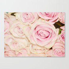 Pretty Pink White Roses Canvas Print