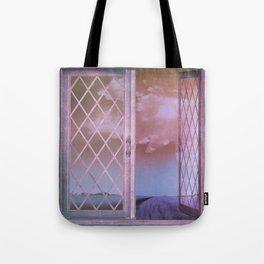 Lavender Fields in Window Shabby Chic original art Tote Bag