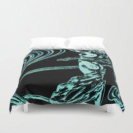 art nouveau, belle époque,vintage,naked female,victorian,floral pattern, elegant,teal,black,beautifu Duvet Cover
