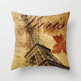 Paris vintage poster. Throw Pillow