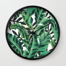 Tropical Glam Banana Leaf Print Wall Clock