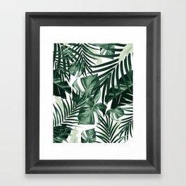 Tropical Jungle Leaves Pattern #4 #tropical #decor #art #society6 Framed Art Print