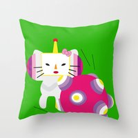 katamari Throw Pillows featuring Katamari Kitty by Martine Verfaillie