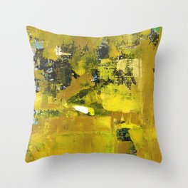 Waiter Yellow Abstract Modern Art Painting Throw Pillow