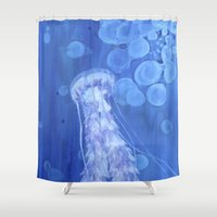 jelly fish Shower Curtains featuring Jelly Fish by Lise Dumas Richard