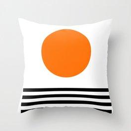Orange Zen Sunset Minimalist Art Black Stripes Simple Art Throw Pillow