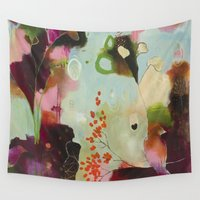 "flora bowley Wall Tapestries featuring ""Deep Embrace"" Original Painting by Flora Bowley by Flora Bowley"