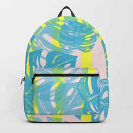 Linocut Monstera Neon Backpack